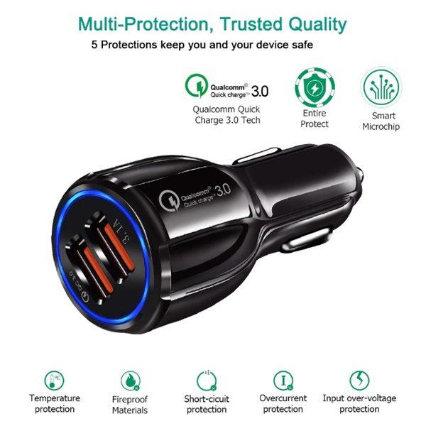 Car Mobile Qualcomm Quick Charger 3.0 Dual USB Port