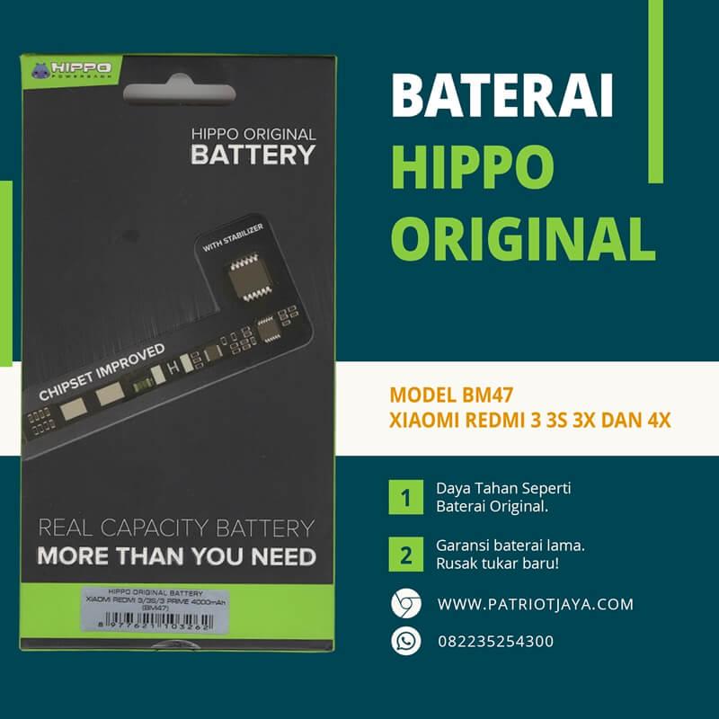 Harga Baterai Xiaomi Redmi 3 3S 3X 4X BM47 Hippo Original